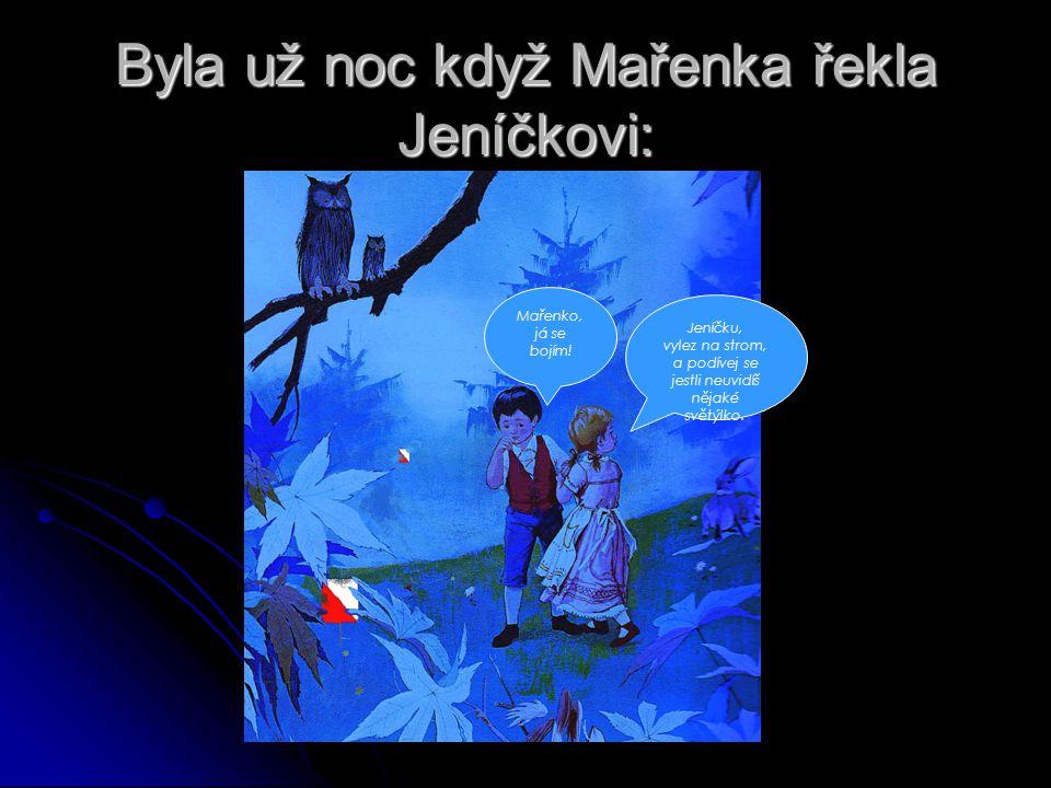 Byla už noc když Mařenka řekla Jeníčkovi: