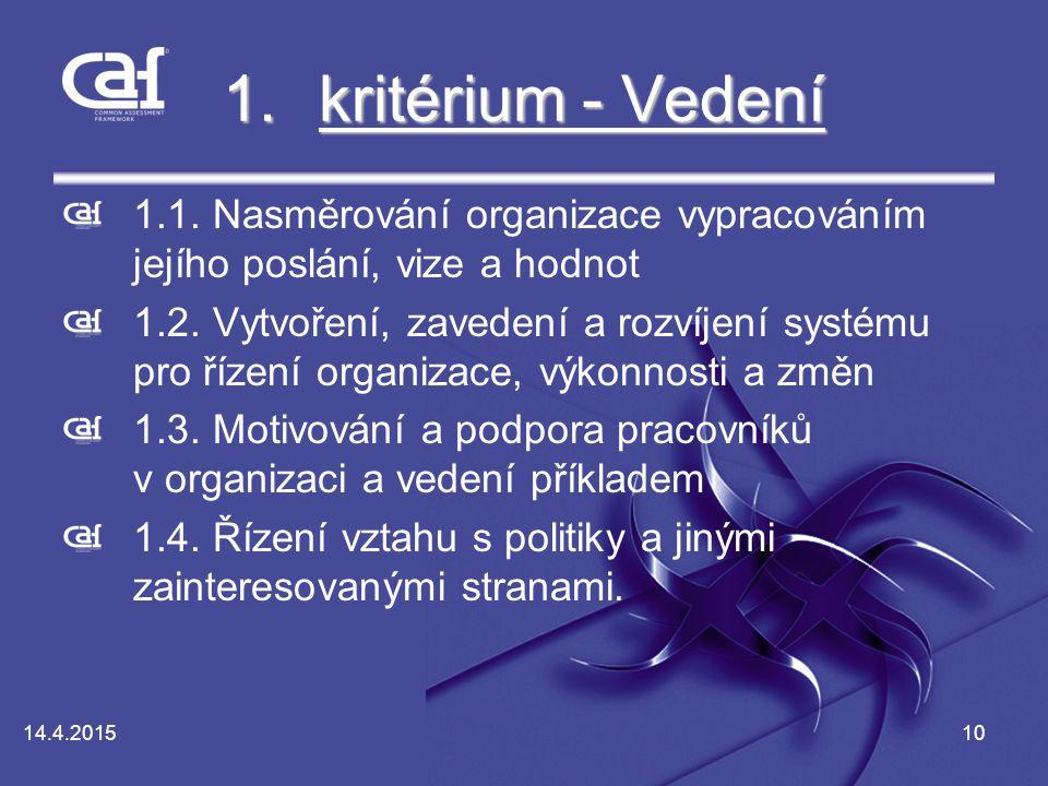 kritérium - Vedení 1.1. Nasměrování organizace vypracováním jejího poslání, vize a hodnot.