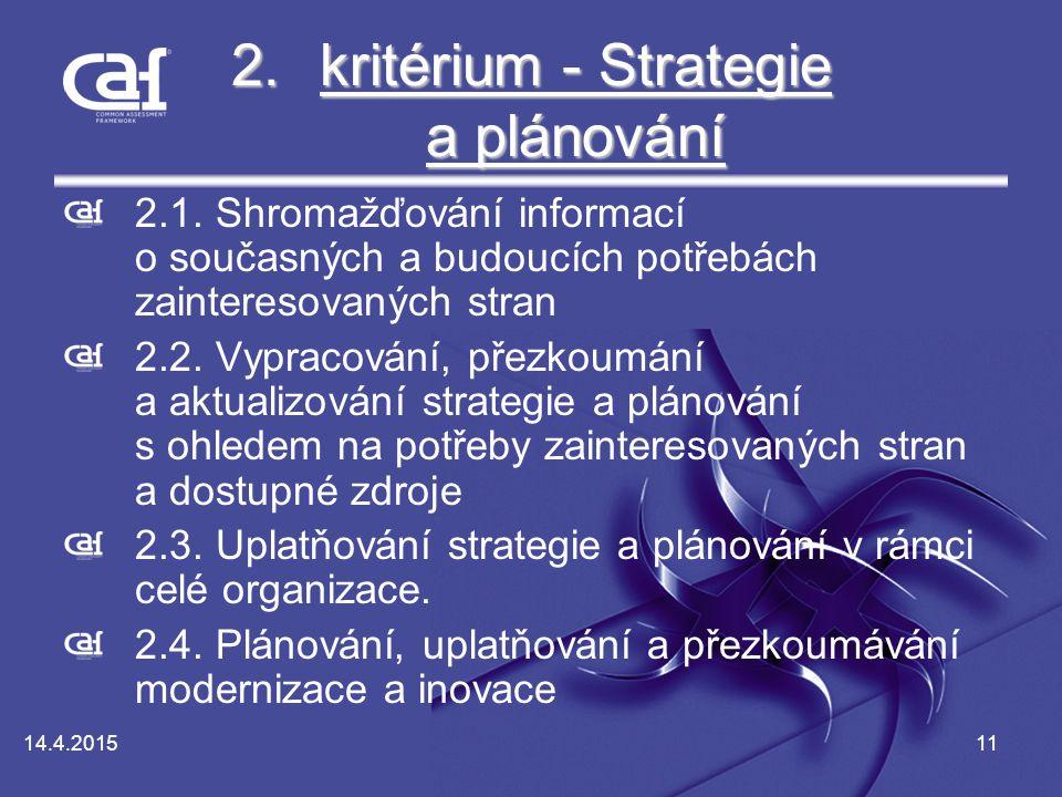 kritérium - Strategie a plánování