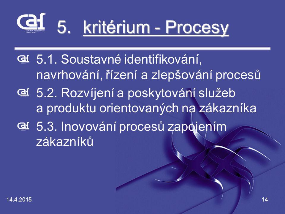 kritérium - Procesy 5.1. Soustavné identifikování, navrhování, řízení a zlepšování procesů.