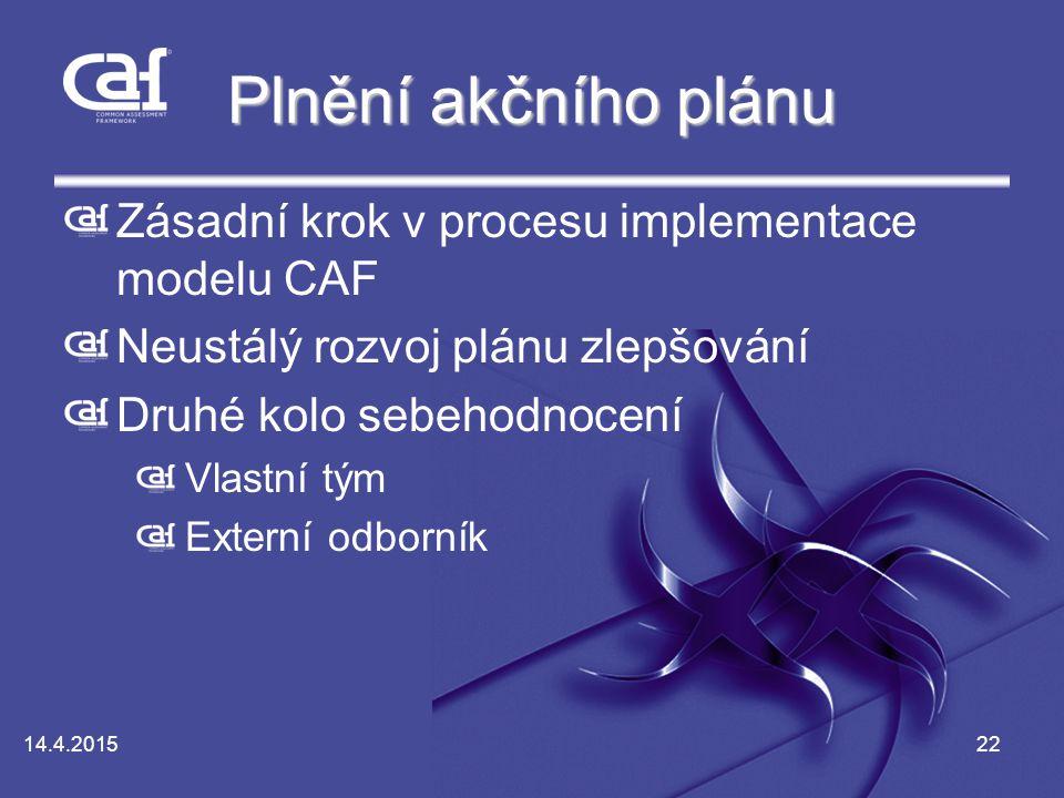 Plnění akčního plánu Zásadní krok v procesu implementace modelu CAF