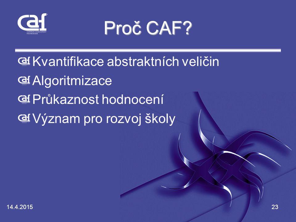 Proč CAF Kvantifikace abstraktních veličin Algoritmizace