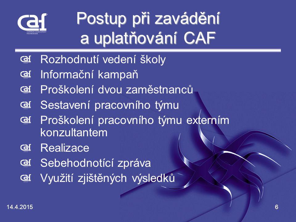 Postup při zavádění a uplatňování CAF