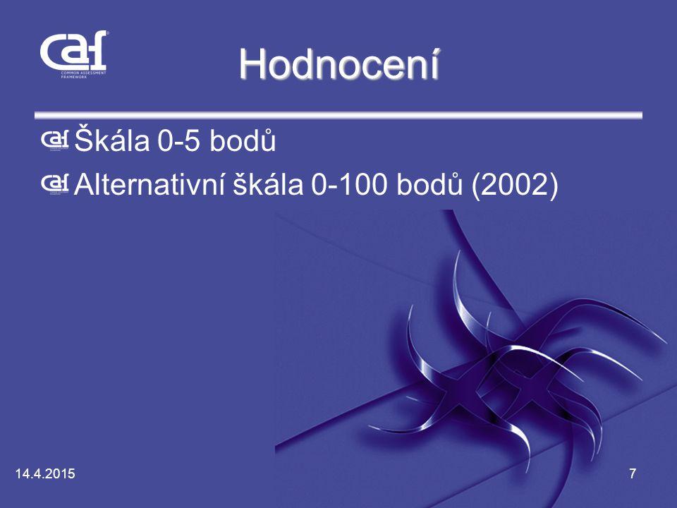 Hodnocení Škála 0-5 bodů Alternativní škála 0-100 bodů (2002)