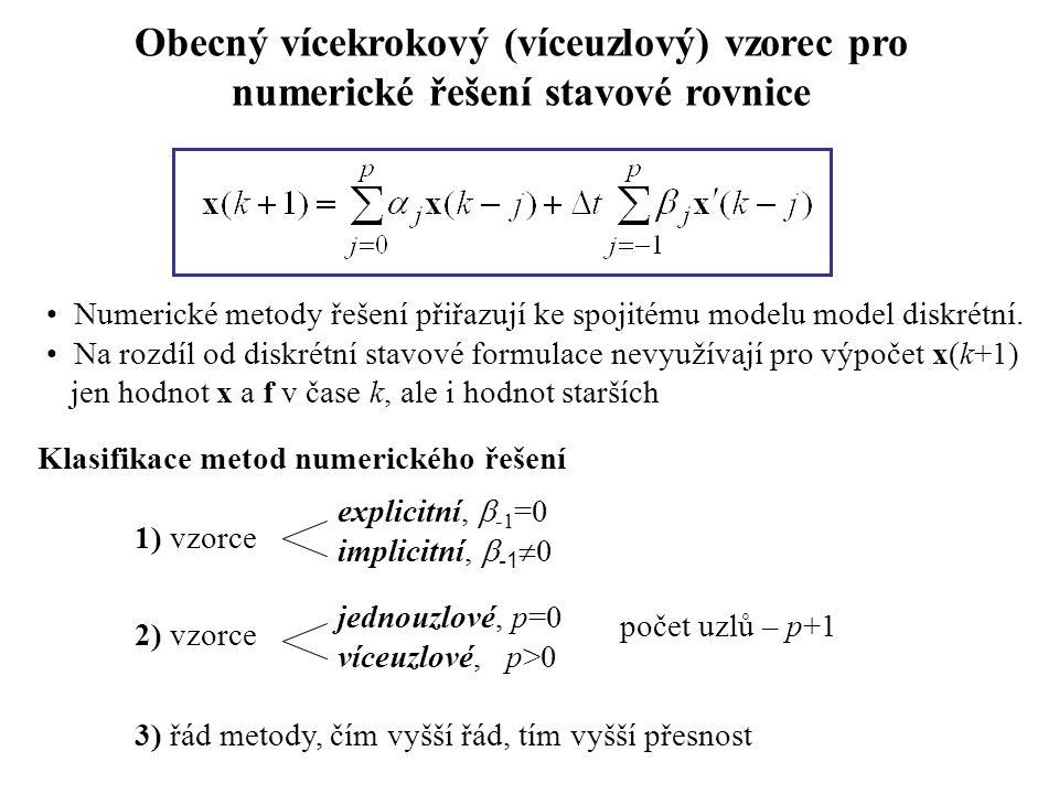 Obecný vícekrokový (víceuzlový) vzorec pro numerické řešení stavové rovnice