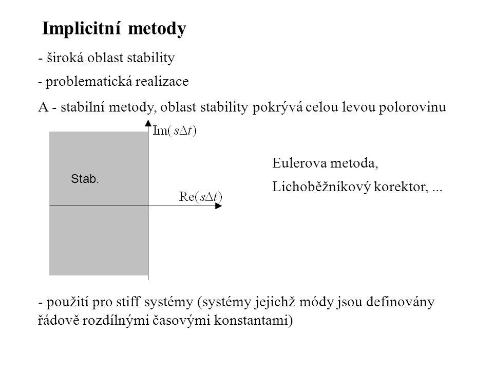 Implicitní metody - široká oblast stability