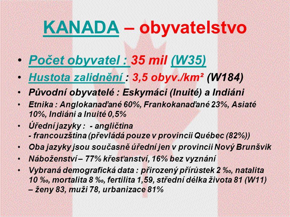 KANADA – obyvatelstvo Počet obyvatel : 35 mil (W35)