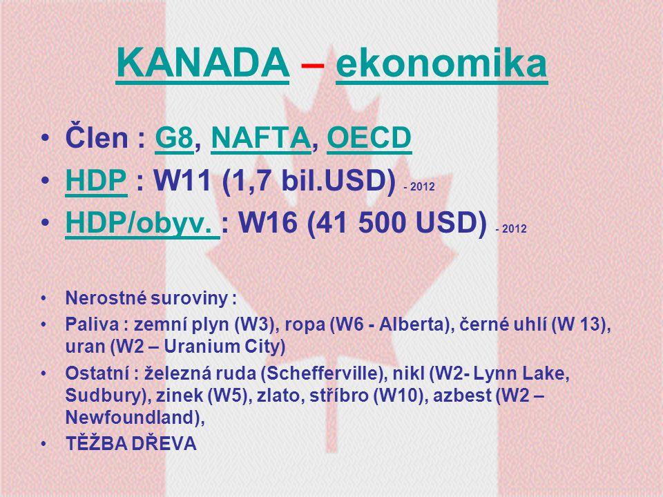 KANADA – ekonomika Člen : G8, NAFTA, OECD