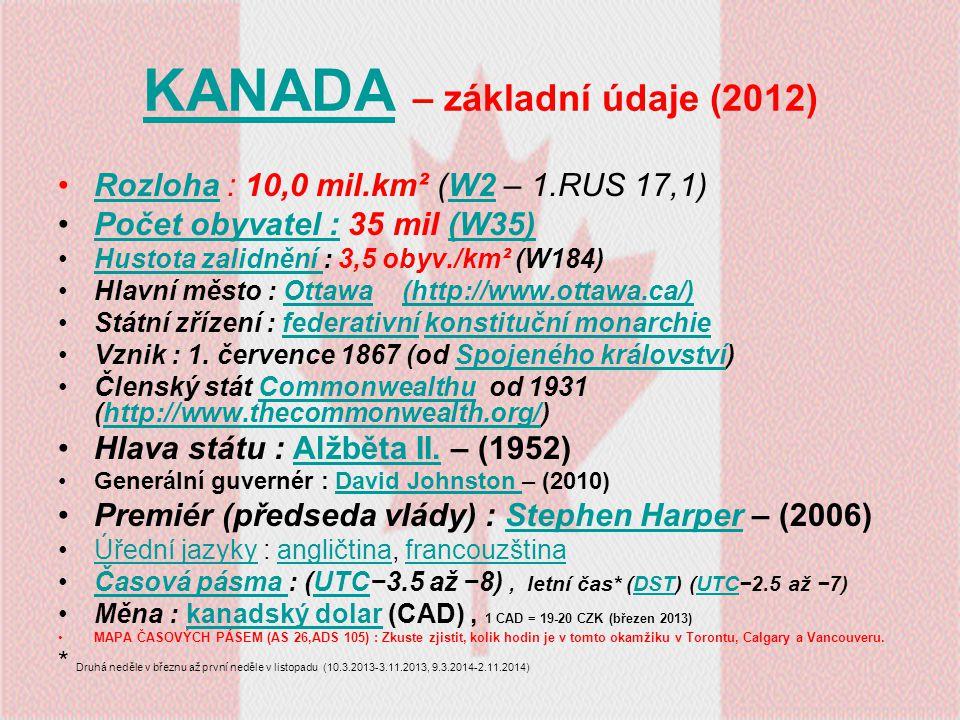 KANADA – základní údaje (2012)