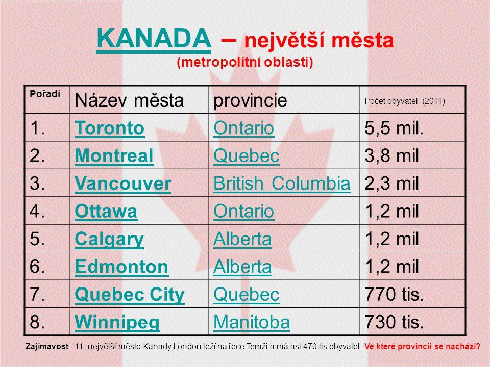 KANADA – největší města (metropolitní oblasti)