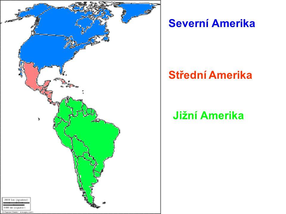 Barvami rozděl mapu na Severní, Střední a Jižní Ameriku