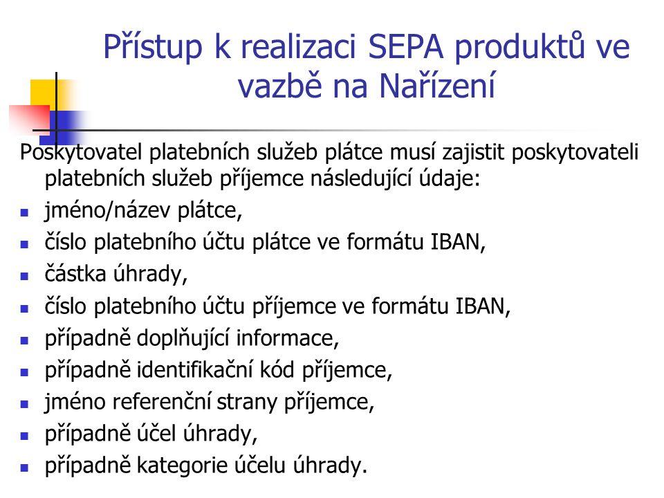 Přístup k realizaci SEPA produktů ve vazbě na Nařízení