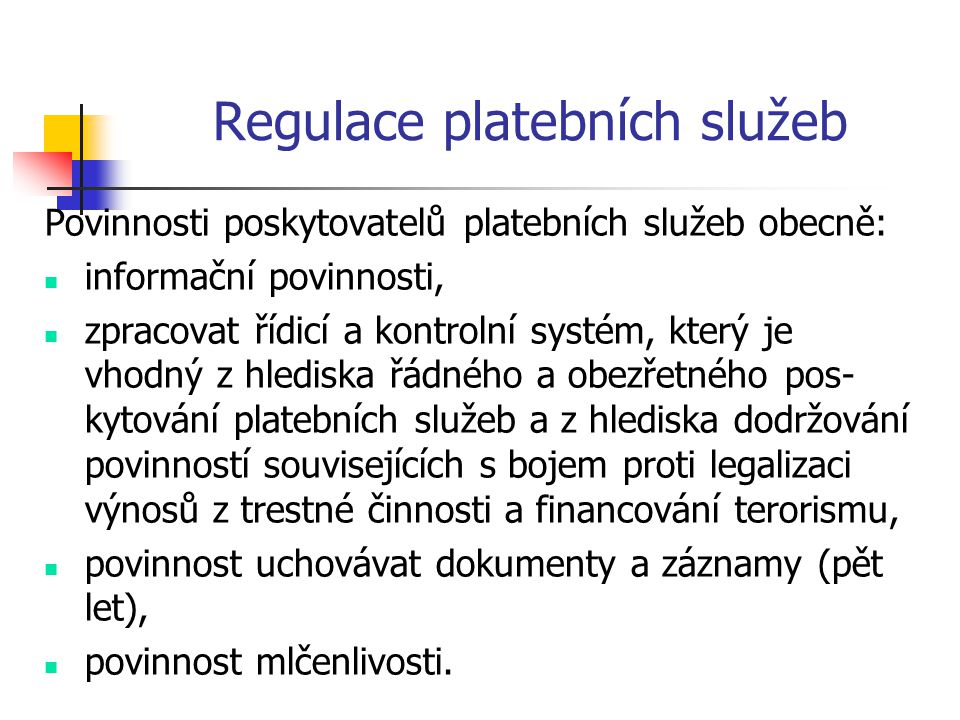 Regulace platebních služeb