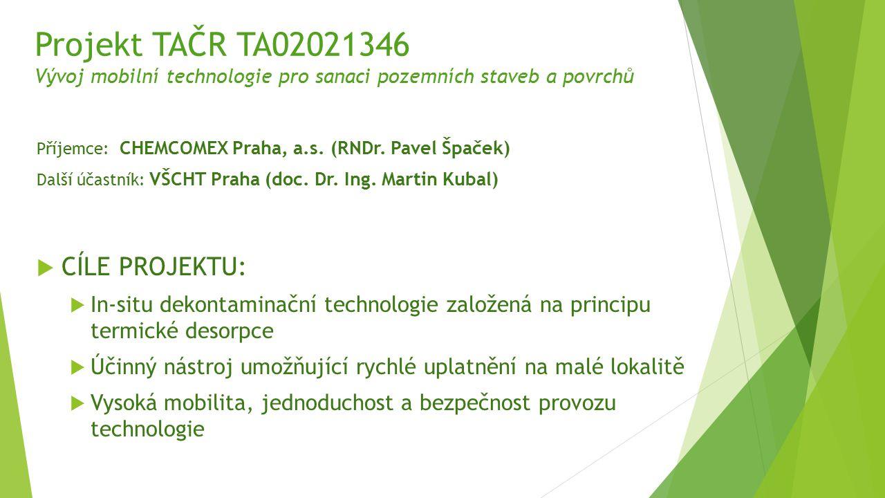 Projekt TAČR TA02021346 Vývoj mobilní technologie pro sanaci pozemních staveb a povrchů