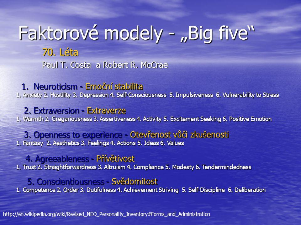 "Faktorové modely - ""Big five"