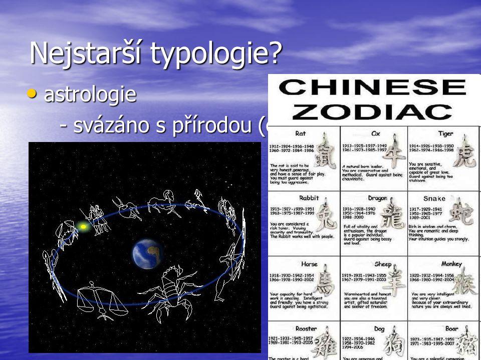 Nejstarší typologie astrologie - svázáno s přírodou (cykly, elementy)