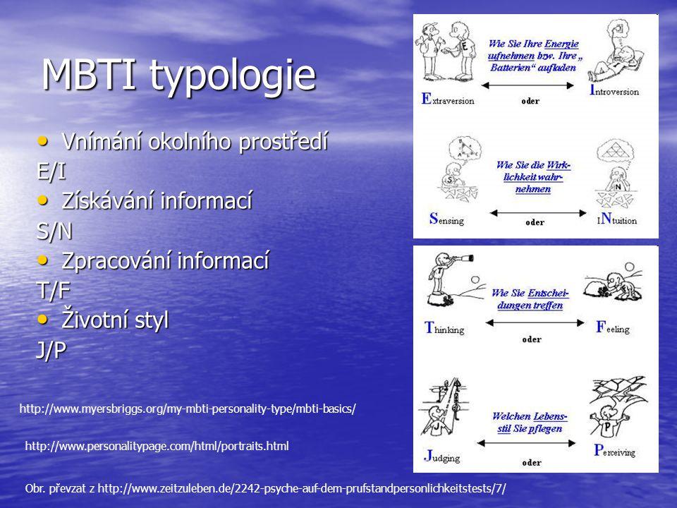 MBTI typologie Vnímání okolního prostředí E/I Získávání informací S/N