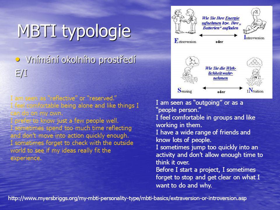 MBTI typologie Vnímání okolního prostředí E/I