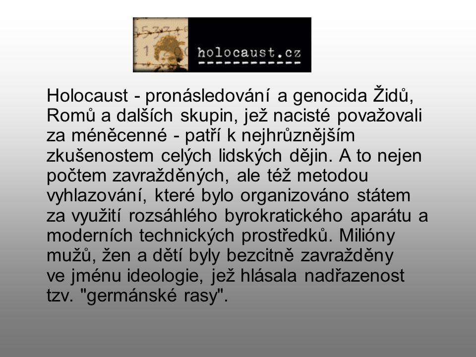 Holocaust - pronásledování a genocida Židů, Romů a dalších skupin, jež nacisté považovali za méněcenné - patří k nejhrůznějším zkušenostem celých lidských dějin.