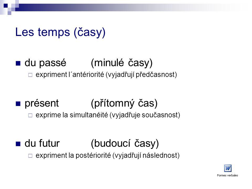 Les temps (časy) du passé (minulé časy) présent (přítomný čas)