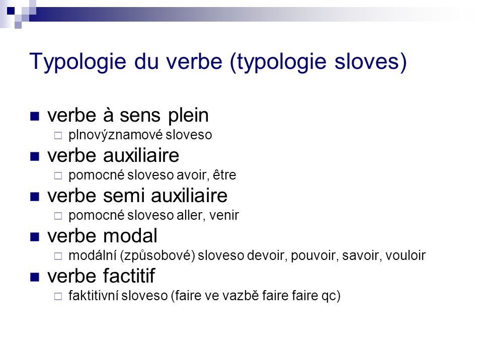 Typologie du verbe (typologie sloves)