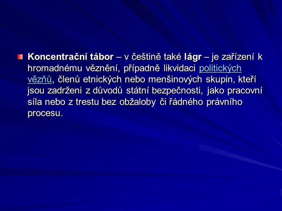 Koncentrační tábor – v češtině také lágr – je zařízení k hromadnému věznění, případně likvidaci politických vězňů, členů etnických nebo menšinových skupin, kteří jsou zadrženi z důvodů státní bezpečnosti, jako pracovní síla nebo z trestu bez obžaloby či řádného právního procesu.