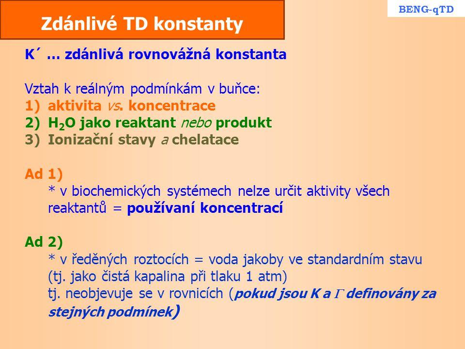 Zdánlivé TD konstanty K´ … zdánlivá rovnovážná konstanta