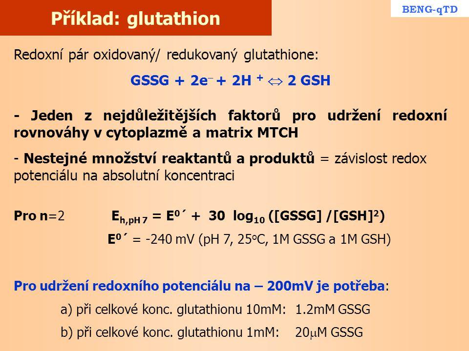 Příklad: glutathion Redoxní pár oxidovaný/ redukovaný glutathione: