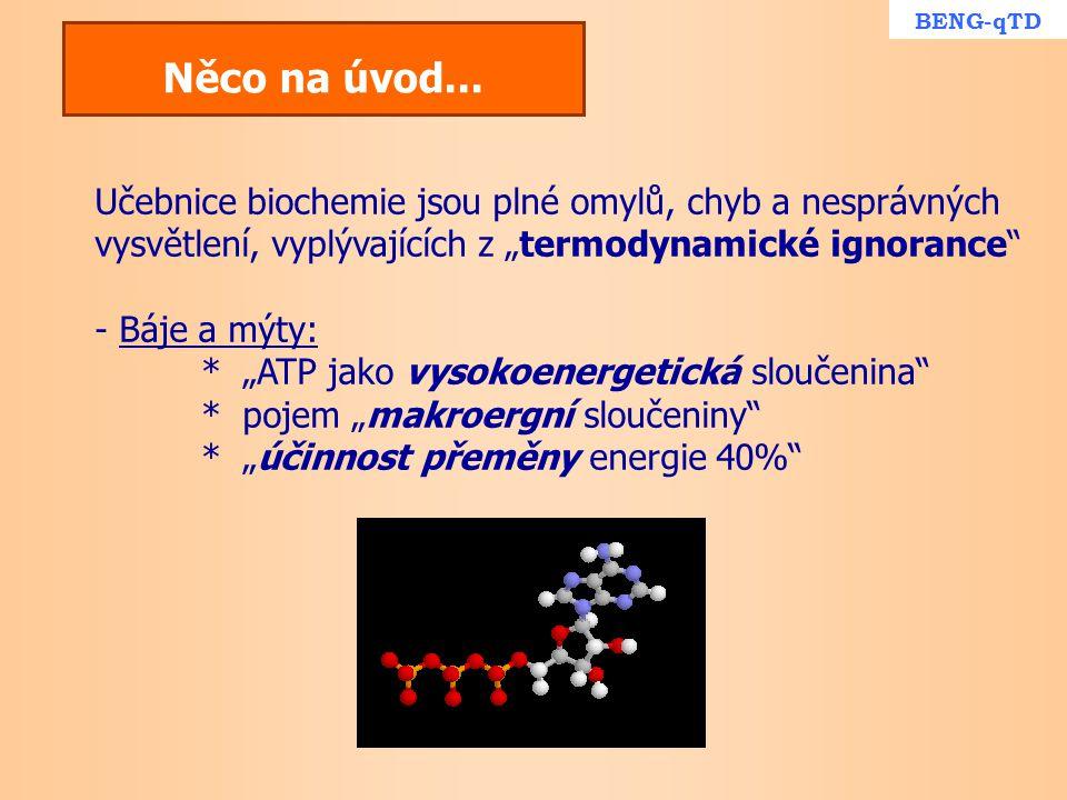 """BENG-qTD Něco na úvod... Učebnice biochemie jsou plné omylů, chyb a nesprávných vysvětlení, vyplývajících z """"termodynamické ignorance"""