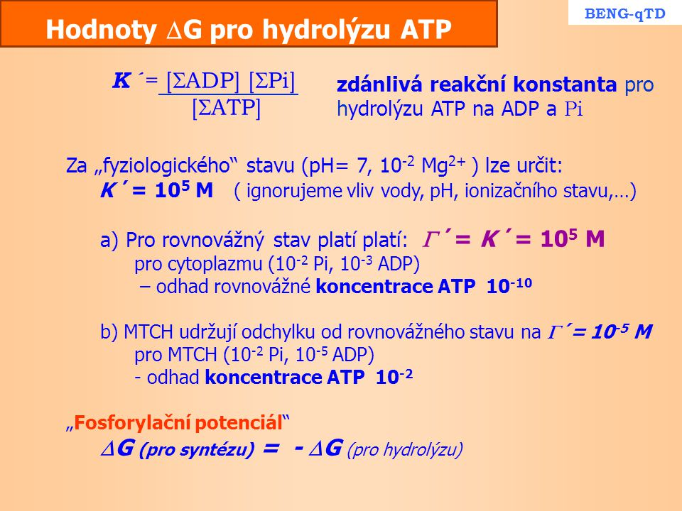 Hodnoty G pro hydrolýzu ATP