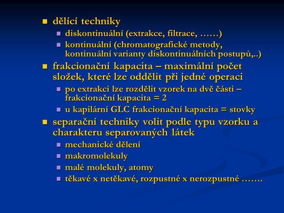 dělící techniky diskontinuální (extrakce, filtrace, ……) kontinuální (chromatografické metody, kontinuální varianty diskontinuálních postupů,..)