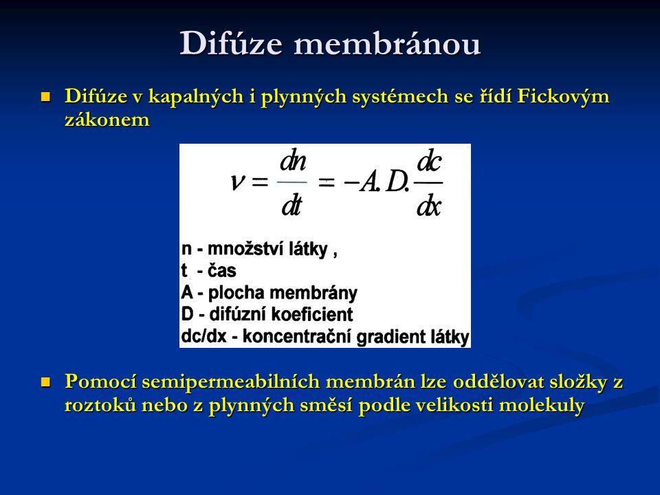 Difúze membránou Difúze v kapalných i plynných systémech se řídí Fickovým zákonem.