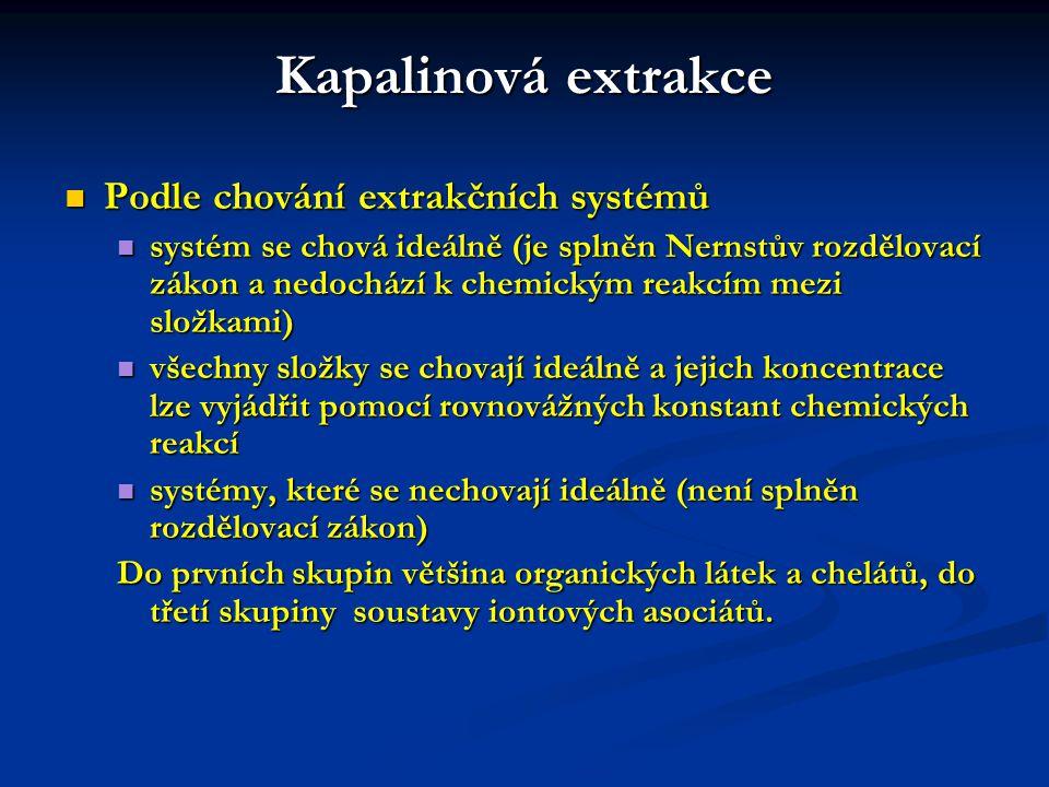 Kapalinová extrakce Podle chování extrakčních systémů