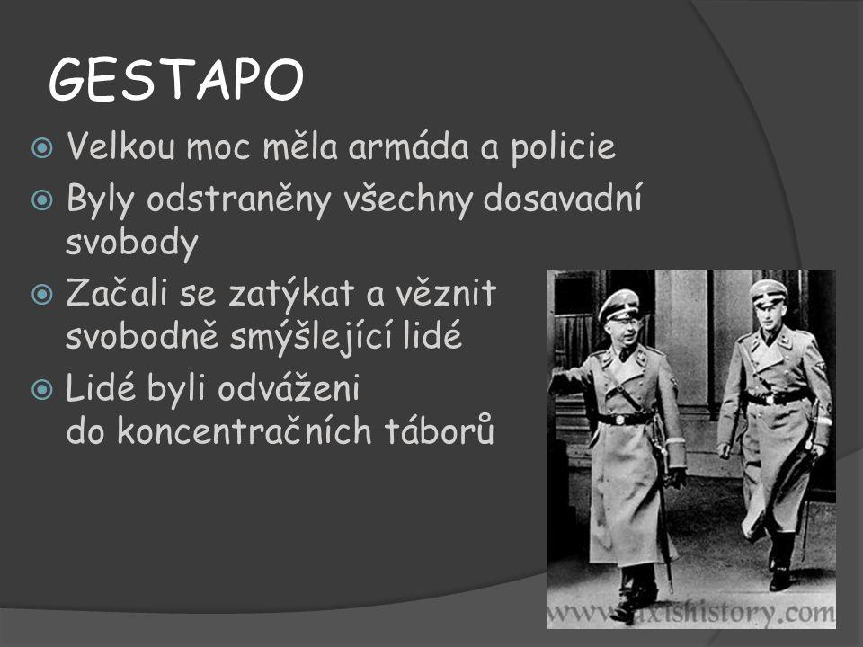 GESTAPO Velkou moc měla armáda a policie