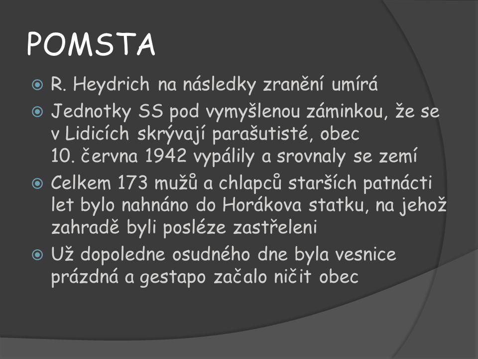 POMSTA R. Heydrich na následky zranění umírá