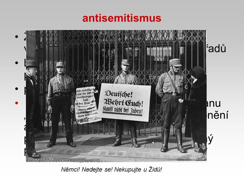 bojkot židovských obchodů, lékařů, právníků, ...