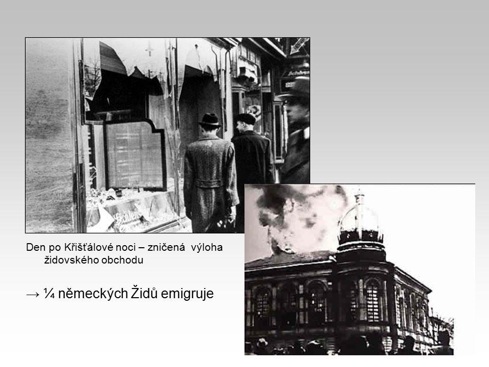 → ¼ německých Židů emigruje