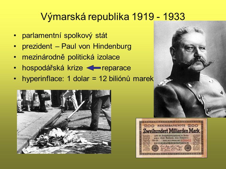 Výmarská republika 1919 - 1933 parlamentní spolkový stát