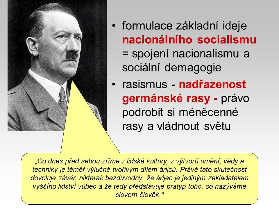 formulace základní ideje nacionálního socialismu = spojení nacionalismu a sociální demagogie