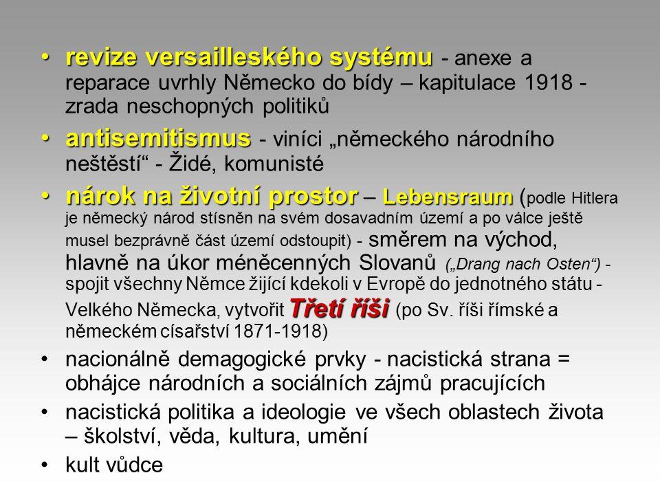 revize versailleského systému - anexe a reparace uvrhly Německo do bídy – kapitulace 1918 - zrada neschopných politiků