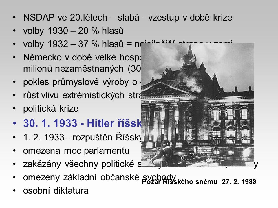 30. 1. 1933 - Hitler říšským kancléřem (premiér)