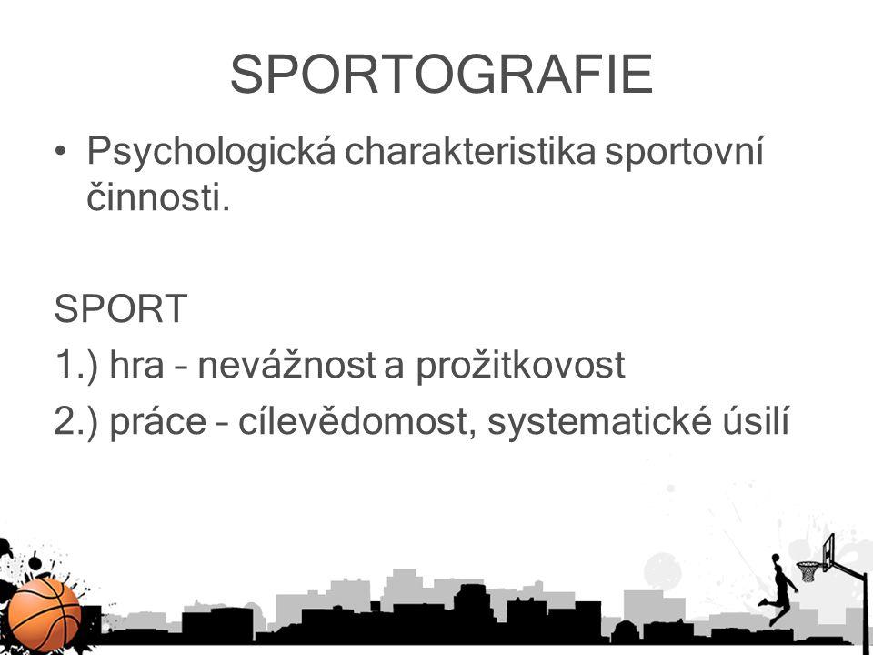 SPORTOGRAFIE Psychologická charakteristika sportovní činnosti. SPORT