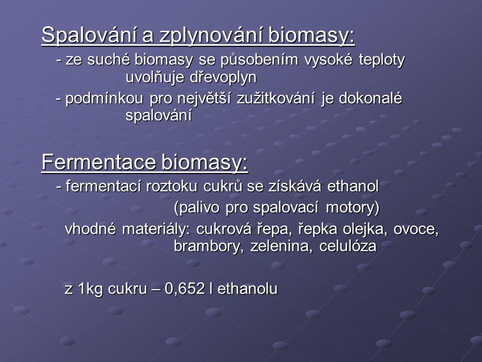 Spalování a zplynování biomasy: