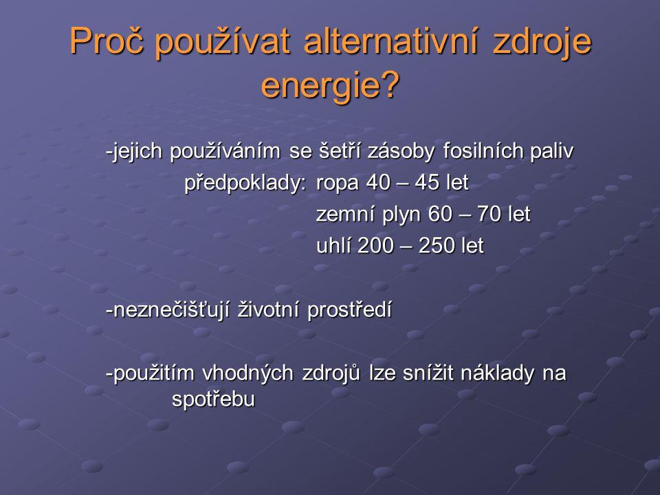 Proč používat alternativní zdroje energie