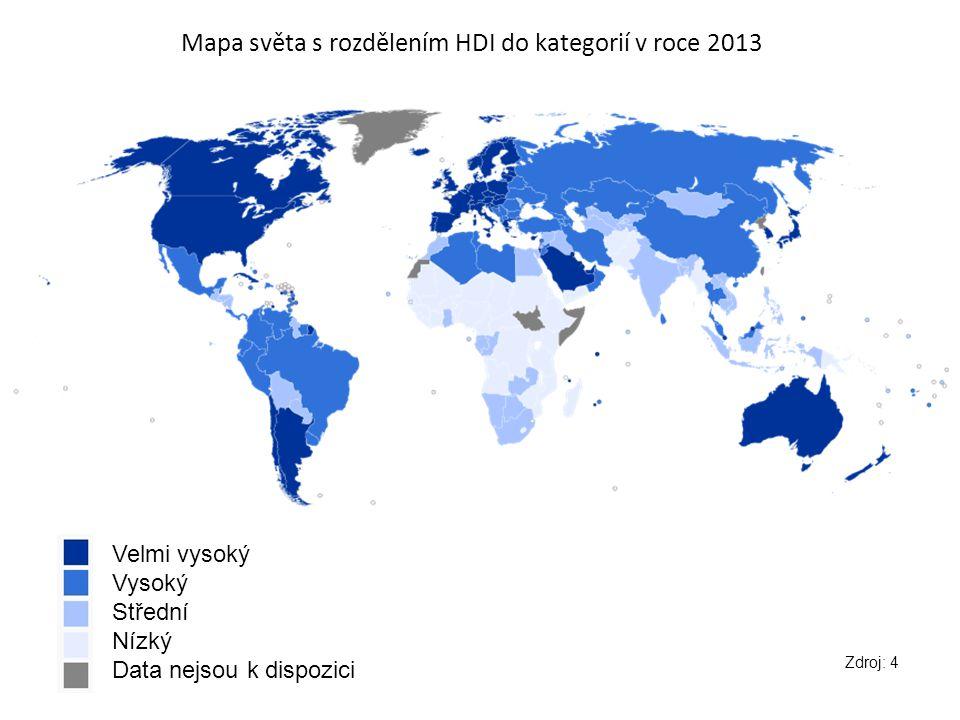 Mapa světa s rozdělením HDI do kategorií v roce 2013