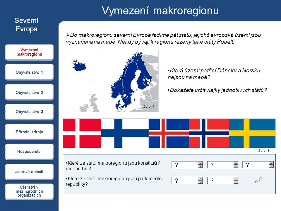 Vymezení makroregionu Členství v mezinárodních