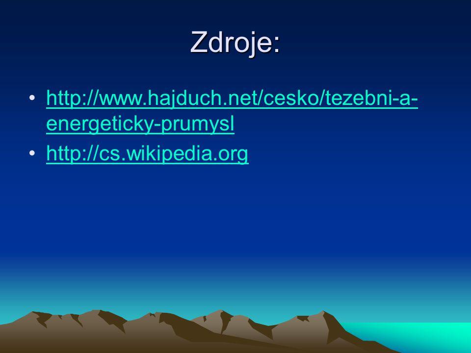 Zdroje: http://www.hajduch.net/cesko/tezebni-a-energeticky-prumysl