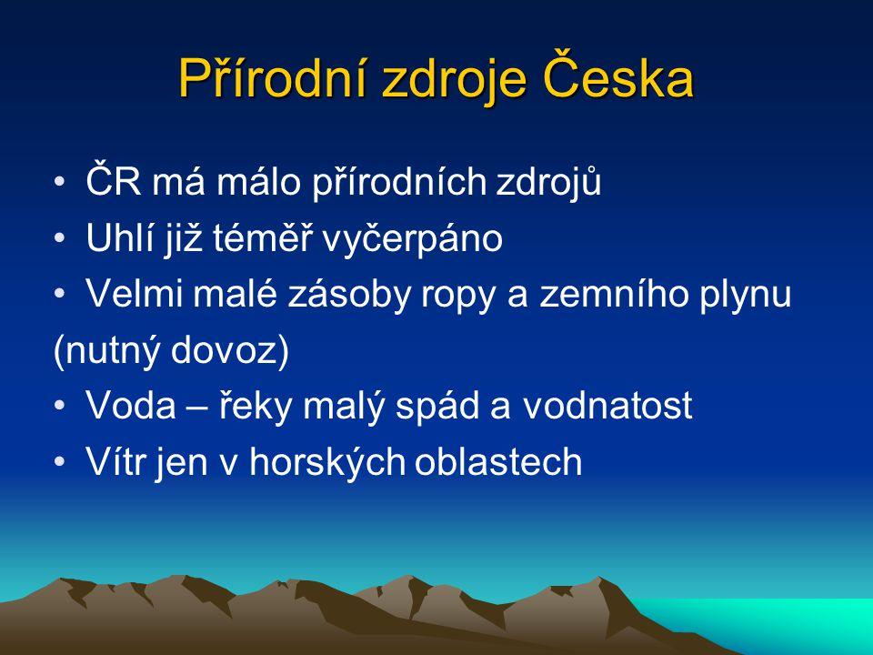 Přírodní zdroje Česka ČR má málo přírodních zdrojů
