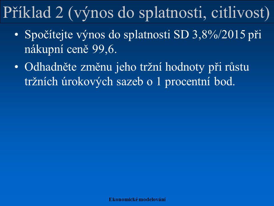 Příklad 2 (výnos do splatnosti, citlivost)