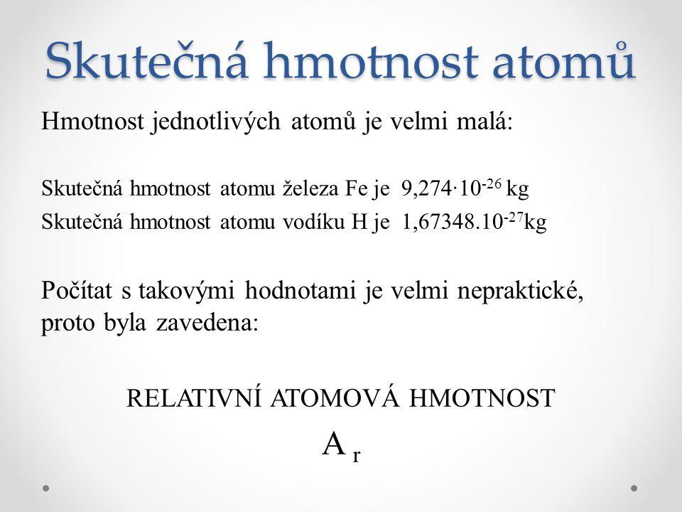Skutečná hmotnost atomů